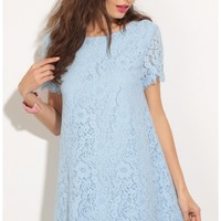 Party dresses > Lace Shift Dress In Baby Blue