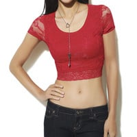 Lace Crop Tee | Shop Tops at Wet Seal