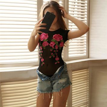 2017 Hot Bodysuit Women Jumpsuit Sexy Rompers Floral Appliques Sheer Mesh Overalls for Women Bodysuit Sexy Playsuit #XC3140