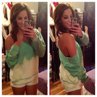 Studded Dip Dyed Ombré Mint Green Off the Shoulder Sweatshirt Sz. Large
