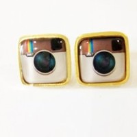 Instagram Apps Gold Collectible Fashion Lovely Earrings Stud Cute Lady Girl