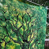 Green Tree of Life Indian Wall Hanging Hippy Tapestry Bedsheet Bedspread Best Gift for Christmas Newyear by Montreal Tapassier