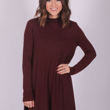 Merlot Mocked Turtleneck Dress