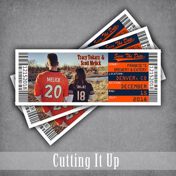 Football Wedding Save The Date Ticket, Jersey Magnet, Sports Theme , Denver Broncos Magnets, Cincinnati Bengals Tickets, DIY Print Template