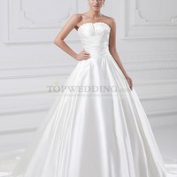Strapless Satin Ball Gown with Chapel Train