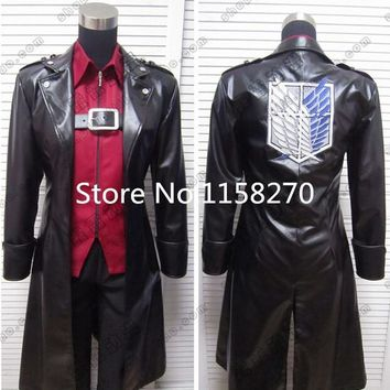 Cool Attack on Titan  Eren Levi Faux Leather Cosplay Costume AT_90_11