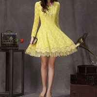 Lace dress with Sequins Little yellow dress Fit-and-flare Lace dress Wedding dress Party dress White blue