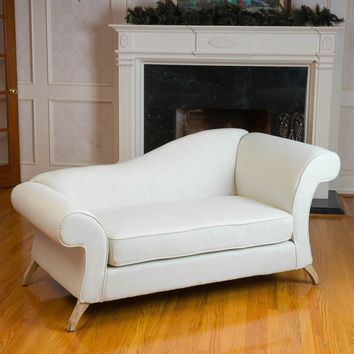 Cleopatra Ivory Chaise Lounge Sofa Loveseat