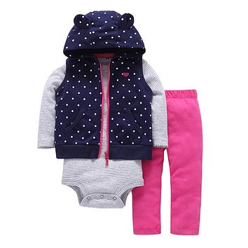 Spring baby girl cute dot hooded vest+Long sleeve stripe romper pink pants 3 piece clothing set newborn baby boy outfits