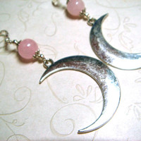 Rose Quartz Moon Earrings Celestial Jewelry Pagan Wiccan Witchcraft, Spiritual Gift for Her, Large Earrings Statement Bohemian Gemstone Boho