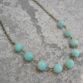 Positivity, amazonite chain necklace