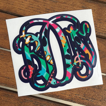 Double Layer Lilly Pulitzer Vine Monogram Decal, Lilly Yeti Monogram, Layered Lilly Pattern Monogram, Preppy Monogram, Car Sticker Decal