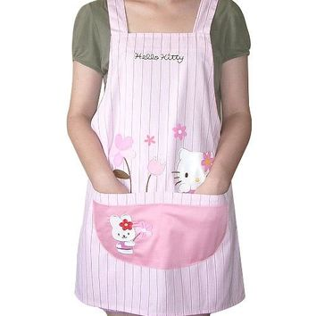 Kitchen Apron Woman Pink Hello Kitty Japanese Avental de Cozinha Divertido Tablier Cuisine Pinafore Apron