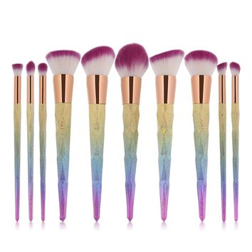 10pcs/set Rainbow unicorn Diamond Cosmetic Makeup Brushes Set