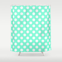 Tiffany Polka Dot Pattern Shower Curtain by RexLambo