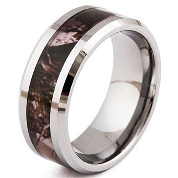 8mm Tungsten Carbide Ring Tree Camo Camouflage Hunting Vintage Wedding Engagement Promise Band