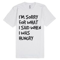 hungry-Unisex White T-Shirt
