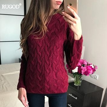 RUGOD 2017 Muti Color Christmas Sweater Women Autumn Winter Long Sleeve O-neck Sweater Pullover Female Casual Knitwear Jumper