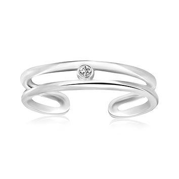 Sterling Silver Rhodium Plated Dual Open Style Cubic Zirconia Accented Toe Ring