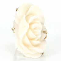 Vintage 14 Karat Yellow Gold Carved White Coral Large Flower Cocktail Ring Estate Jewelry