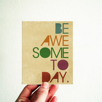 Be Awesome Today Greeting Card 3,5x4,5 inch Funny Motivational Modern Typography Natural Rustic Red Tau