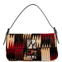 Fendi - Red/Black Embroidered Leather Baguette with Snakeskin