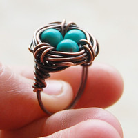 Bird nest ring Oxidized copper Turquoise by Karismabykarajewelry