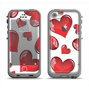 The Glossy Red 3D Love Hearts Apple iPhone 5c LifeProof Fre Case Skin Set