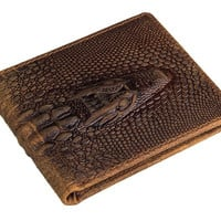 Crazy Horse Leather Embossed Alligator Head Bi-fold Wallet