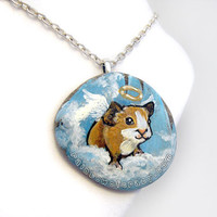 Guinea Pig Jewelry, Angel Necklace, Pet Memorial Pendant, In Memory, Pet Loss Gift, Blue Sky, Painted Rock, Animal Painting