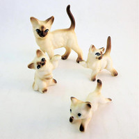 Glass Cat Figurine, Siamese Cat Set, 4 Vintage Miniature Collectible Cats, Siamese Glass Cat, Asian Cat Figurine, Blue Eyed Porcelain Cat