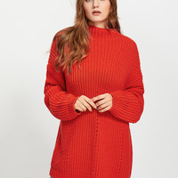 Exaggerate Long Sleeve Eyelet Detail Jumper -SheIn(Sheinside)