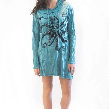 Octopus Hoodie Dress Turquiose