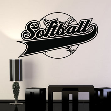 Vinyl Wall Decal Softball Player Ball Word Sports Stickers Murals Unique Gift (ig4727)