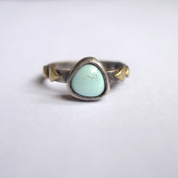 Blue Moon Turquoise Arrow Stacking Ring    Brass Triangles     Black Gold Sterling Silver    US 6.5