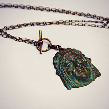indian chief necklace, tribal necklace, rustic necklace,patina necklace, native american