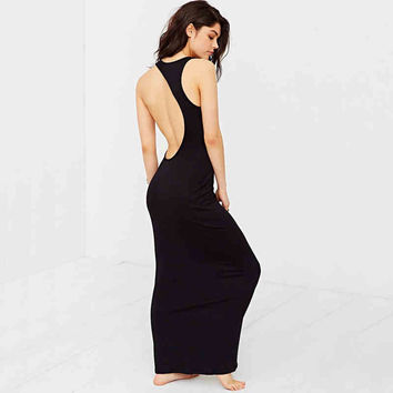 Black Cutout Back Sleeveless Maxi Dress
