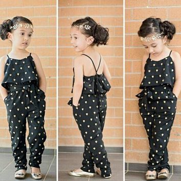 SKZ130 2017 new Fashion baby girl  sling clothes girl summer style strap heart-shaped onepiece jumpsuit set kids clothes retail