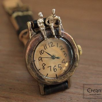 Vintage Watch. Leather Band ///////// Handcraft Watch ///////// Talk Talk