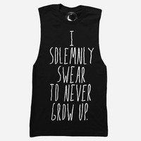 Hello Merch — I Solemnly Swear Cutoff Black Tee