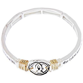Bible scripture verse John 3:16 inscripted stretch bracelet round Christian fish interwoven gold wire