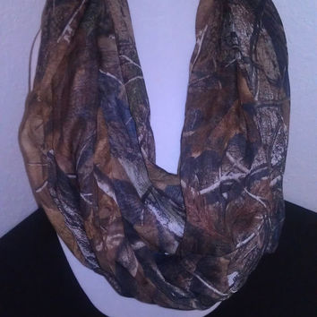 Real Tree Infinity Scarf - Ready to Ship - Sheer, Mossy Oak Handmade Cowl - Brown Woodland Camouflage