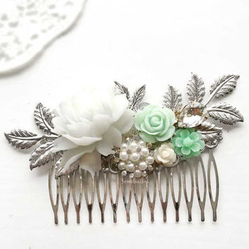 Mint Green Silver Hair Comb Soft Pastel Wedding Customised Bridal Hair Slide Leaf Hair Pin Bridesmaid Gift Personalise Design