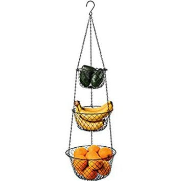 Malmo 3-Tier Wire Fruit Hanging Basket, Kitchen Storage Vegetable Basket, Iron Wire