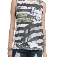 Kurt Cobain Striped Sublimation Muscle Girls Top