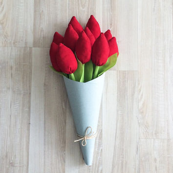Sale 50% Fabric tulips, fabric flowers, tulip flower, red tulips, red fabric tulips, handmade fabric flowers, flowers decoration, material f