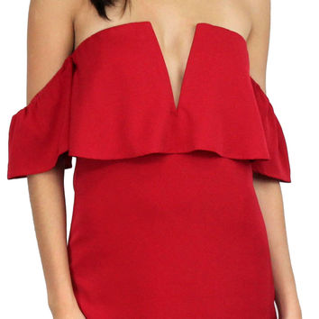 Best is Yet to Come Red Off-Shoulder Dress