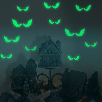 18Pcs/set Glowing In The Dark Eyes Wall Glass Sticker Halloween Decoration Decals Luminous Home Ornaments- Green