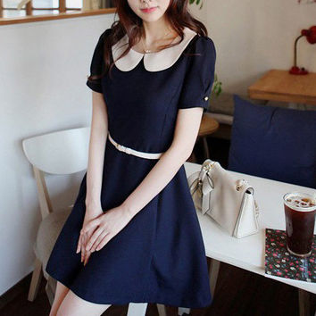 Cute White Collared Dark Blue Short Sleeves Belted Dress