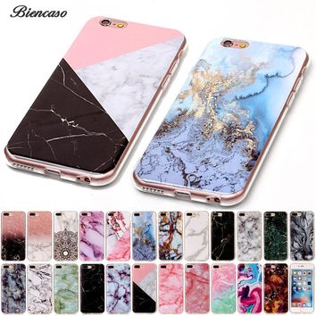 Biencaso Marble Soft TPU IMD Silicone Back Cover Case For iPhone 4 4S 5 5C 5S SE 6 6S 7 8 Plus iPod touch 5 6 Fundas Coque B02